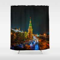 moscow Shower Curtains featuring Moscow Kremlin At Night by digital2real