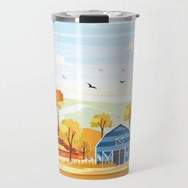 Autumn on the Farm Illustration Travel Mug
