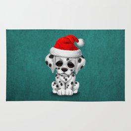 Christmas Dalmatian Puppy Dog Wearing a Santa Hat Rug