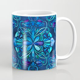 Deep Ocean Art Nouveau Watercolor Doodle Coffee Mug