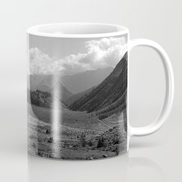 Alpine Valley Meadow Alps Mountains Landscape Bnw Coffee Mug