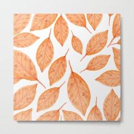 Autumn Watercolor Fall Leaves Orange Metal Print