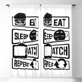 Eat Sleep Watch Repeat - TV Series Couch Binge Blackout Curtain