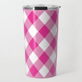 Gingham - Pink Travel Mug