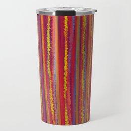Stripes  - Cheerful yellow orange red and blue Travel Mug