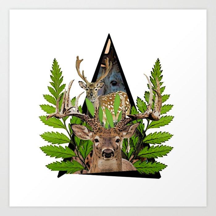 Jungle Animal Deer ArtWork Art Print
