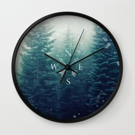 Arrow Compass in the Winter Woods Wall Clock