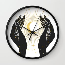 Gold La Lune In Hands Wall Clock