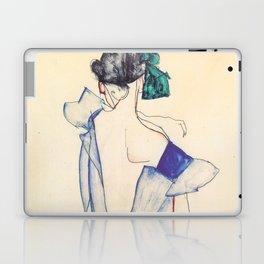 """Egon Schiele """"Rückenansicht eines Mädchens im blauen Rock (Back view of  a girl in a blue dress)"""" Laptop & iPad Skin"""