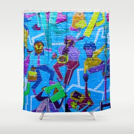 playing and dancing graffiti Shower Curtain