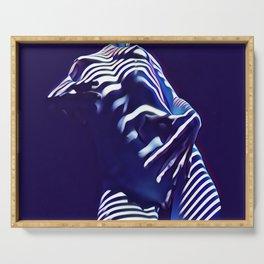 1570s-AK Sexy Blue Art Nude by Window Blind Blue Glow on Fit Body Serving Tray