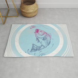 Bass jumping In Blue Circle3 Rug