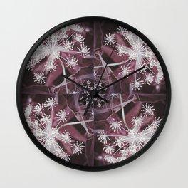 Dill Head in Dark Violet, Dreamy Floral Pattern Design Wall Clock