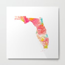 Florida Floral map Metal Print