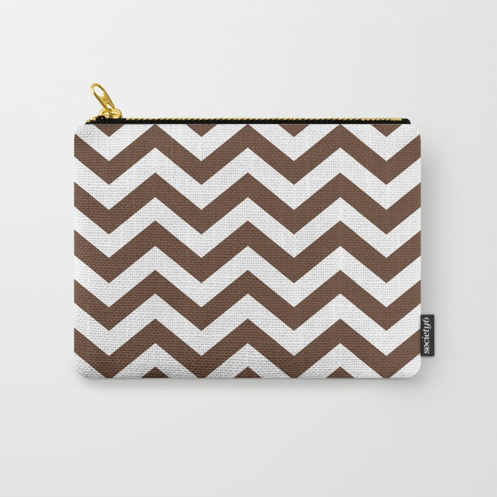 Chocolate Brown Chevron Zig Zag Pattern Carry-All Pouch