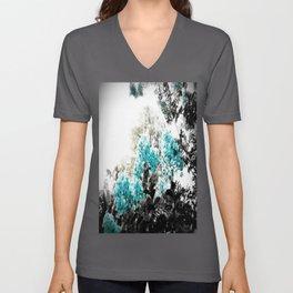 Turquoise & Gray Flowers Unisex V-Ausschnitt