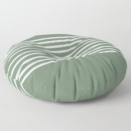 Minimalist Hand Drawn Stripes Pattern (white/sage green) Floor Pillow