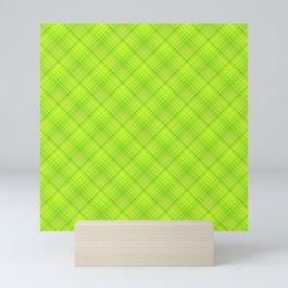 Green Yellow Plaid Tartan Pattern Mini Art Print