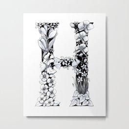 Floral Pen and Ink Letter H Metal Print