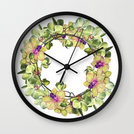 Wreath, Orchid, Clipart, watercolor, handpainted, floral, flower, design, stylish, weddig Wall Clock