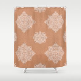 Modern boho terracotta floral mandala oriental pattern Shower Curtain