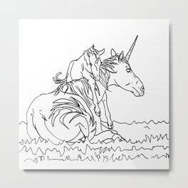 Mare and Foal Mythos Metal Print