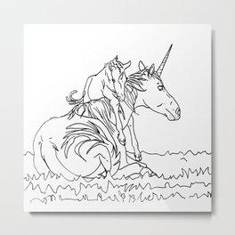 Mare and Foal Mythos Metal Print