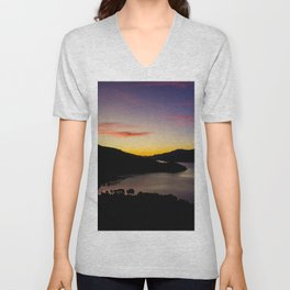 double bay sunset oceanview mountains Unisex V-Neck
