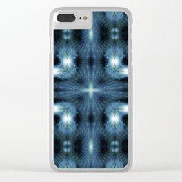 Blue Galaxy Burst Clear iPhone Case