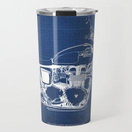 2010 Triumph Bonneville SE, motorcycle blueprint, husbands gift, offer, original poster, fathers day Travel Mug