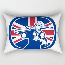 British Lumberyard Worker Union Jack Flag Icon Rectangular Pillow