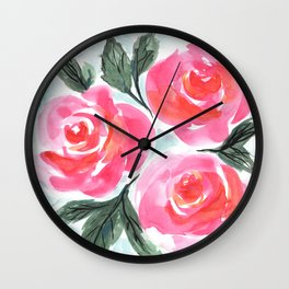 Farmhouse and Shabby Chic Rose Bouquet Chintz Rose Florals American Country English Wall Clock