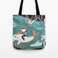 underwater Tote Bags featuring underwater by Orit Bergman