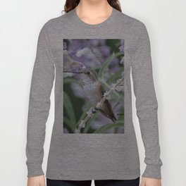 Ms. Hummingbird's Break Time in Mexican Sage Long Sleeve T-shirt