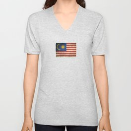 Old and Worn Distressed Vintage Flag of Malaysia Unisex V-Neck