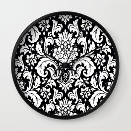Damask Paisley Black and White Paisley Pattern Vintage Wall Clock
