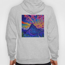 psychedelic colorful lines nature mountain trees snowy peak moon sun rays hill road artwork star sky Hoody