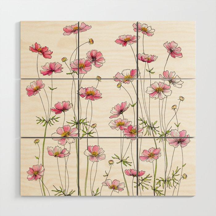 Pink Cosmos Flowers Wood Wall Art