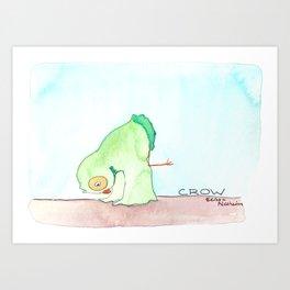 Yoga Owl- Crow Pose Art Print
