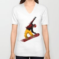 snowboarding V-neck T-shirts featuring Snowboarding by Boehm Graphics