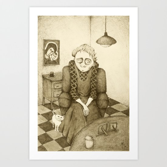 Old Woman and Cat (Retro Sepia Version)  Art Print