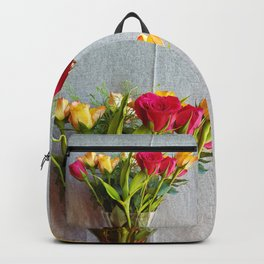 Flowers in a vase - with red and yellow roses Backpack