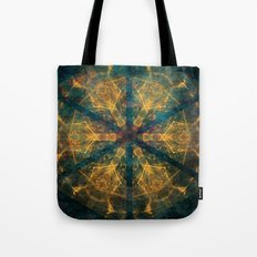 Tribal mandala in blue and gold Tote Bag