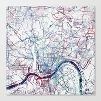 cincinnati Canvas Prints featuring Cincinnati map by MapMapMaps.Watercolors