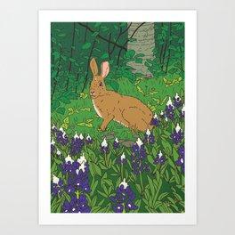 Rabbit & Lupin Art Print