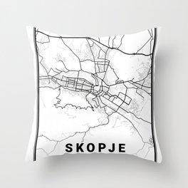 Skopje Light City Map Throw Pillow