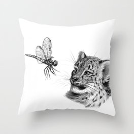 Snow leopard cub and dragonfy G148 Throw Pillow