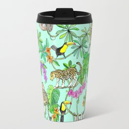 Rainforest Friends - watercolor animals on mint green Travel Mug