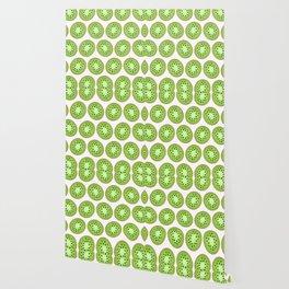 Kiwi Pattern     White Background Wallpaper