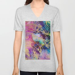Modern gold marble on pastel pink purple watercolor nebula paint Unisex V-Neck